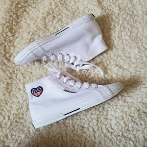 SUPERGA canvas high top flag heart sneakers